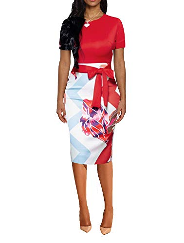 - Floral Dresses for Women - Cute Bowknot 3/4 Sleeve Bodycon Pencil Dress Red Small
