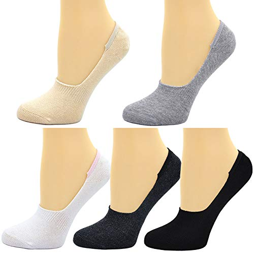 Womens No Show Socks Cotton Non Slip Low Cut Socks 5 Pairs