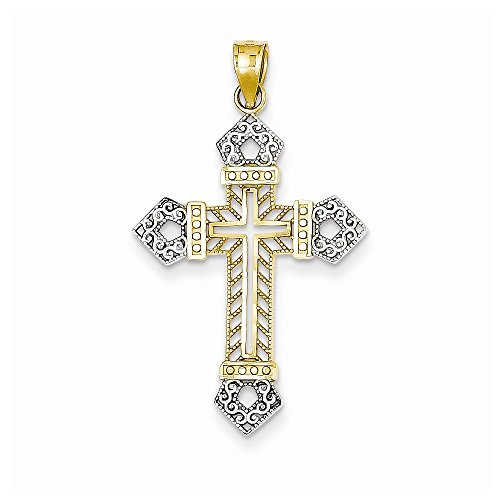 14k & Rhodium Dia-Cut Cross Pendant, Best Quality Free Gift Box
