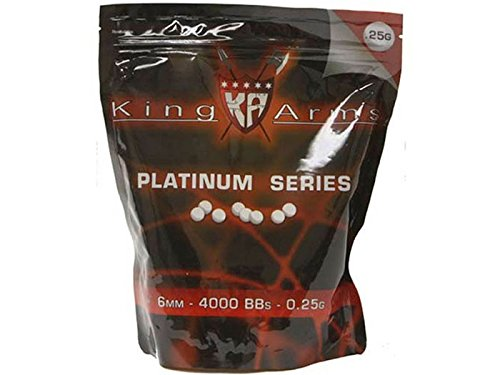 King Arms 6mm Platinum Series airsoft BBs, 0.25g, 4,000 rds, (King Arms Airsoft)
