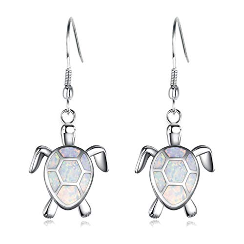 Vanessa Blue Opal Sea Turtle Earrings Birthstone Jewelry Birthday Christmas Stud Earrings Gifts for Her (Hook Drop Earrings-White) (Earrings Turtle Charm)