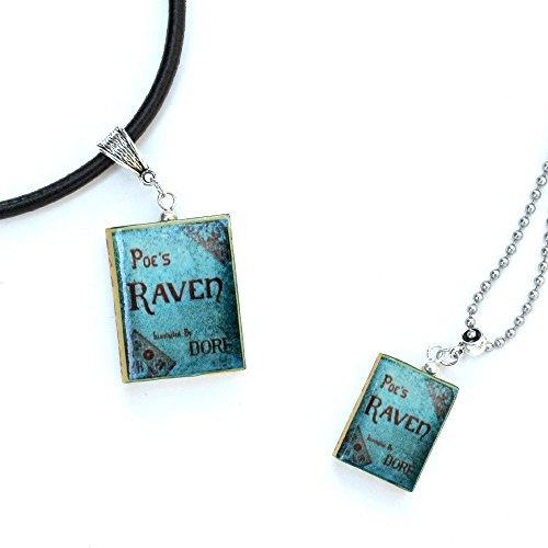 (THE RAVEN Edgar Allan Poe Polymer Clay Mini Book Pendant Necklace by Book Beads UNISEX)