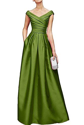Bodenlang Damen Olive Promkleider Marie La V Brautmutterkleider Gruen Abendkleider Satin Ausschnitt Braut Royal Blau PP6n7F