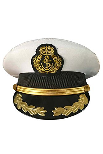 Dark Paradise Unisex Military Costume Hats Navy Officer Sailor Caps Deluxe White Cop Hat 56-62cm/22-24.4