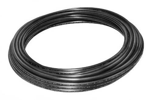 50' Roll of Power Products 1/2' OD Black Nylon Air Brake Tubing SAE J844 C608