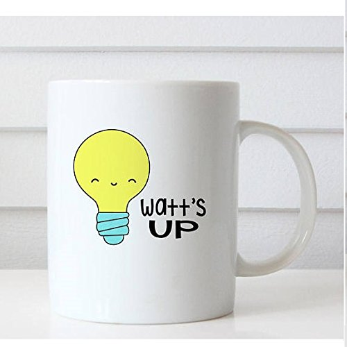 Watt's Up Mug, Mug Set, Coffee Tea Mug, Cute Mug, Ceramic Mug, Funny Mug, 11oz 15oz, Gift for Him, Her, Christmas Mug, Christmas Gift (Harry And David Organic)