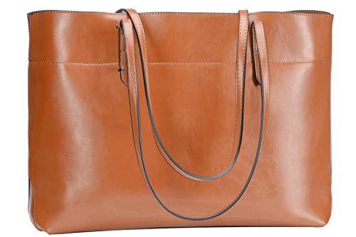 - SAMKITY Women's Genuine Leather Handbag Tote Shoulder Bag Brown H