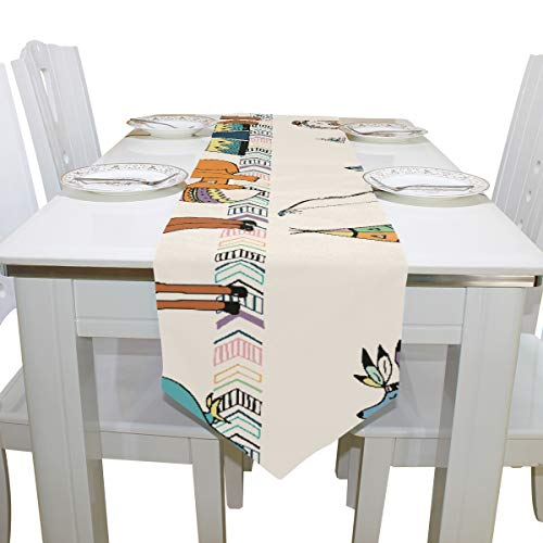 Table Cover Cute Tribal Popular Animals for Children Non-Slip Table Runner Farm Table Cloths for Kitchen Indoor Carnival Party Wedding Table Covers Table Overlays 13