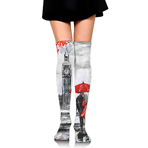 London Couple Under Red Umbrella Casual Crew Top Socks,Tube Over Knee Nursing Compression Long Socks,3D Printed Sports For -