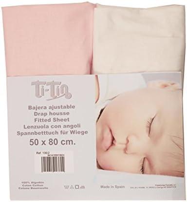 Ti TIN - Pack de 2 Sábanas Bajeras para Cuna o Maxicuna 100% Algodón | Sábanas Bajeras Ajustables con Elásticos, 2 Unidades Color Blanco y Rosa