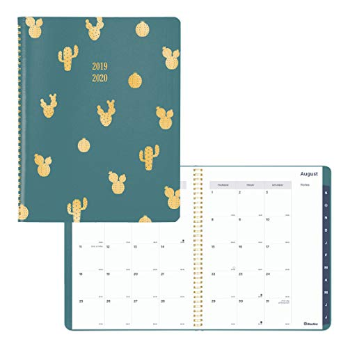 Blueline Academic Monthly Planner, 14-Month, July 2019 to August 2020, Green Vicuana Cover with Cactus foil Stamping, Tabbed, Twin-Wire Binding, English, 11 x 8.5 inches (CA755.01-20) (Rediform Monthly Planner)