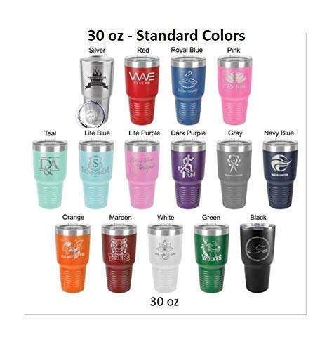 Bridesmaid 30 ounce Tumbler in Sets of 4 to 12 made of Stainless Steel Custom Engraved with a Clear Lid including Choices of Color, Straw, Thank You Message and Spill Proof Slide Lid by aGoGo Creative (Image #3)