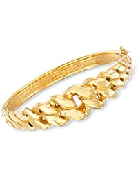 Certified Italian 14kt Yellow Gold Cuban-Link Bangle Bracelet