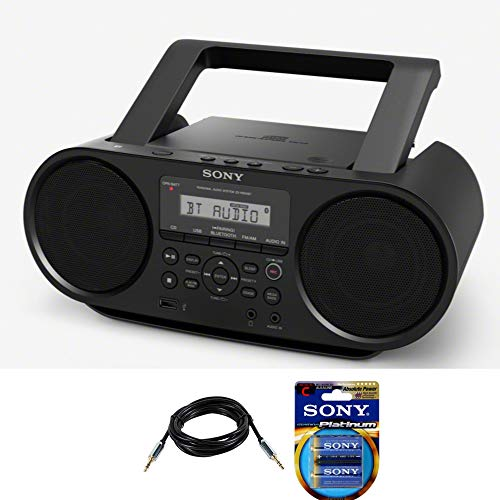 Sony ZSRS60BT CD Boombox with Bluetooth and NFC (Black) with 10ft AUX Cable and 6 Stamina Platinum C Batteries (Sony Boomboxes)