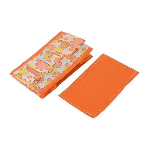 Caja Floral patrón eDealMax Househlod Almacenamiento de escritorio plegable del caso 2pcs Naranja