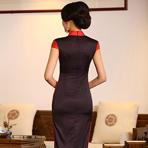 con Rosso Lungo Vestito Spacchi Cheongsam YueLian Profondi BZxvvwq