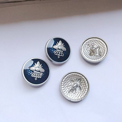 Bee Crown Metal Shank Sewing Buttons for Blazer, Suits, Sport Coat, Uniform, Jacket Button sew DIY (1# Blue, 10pcs 21.5mm)