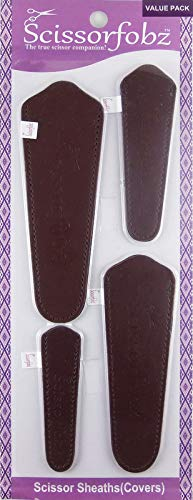 Scissors by SCISSORFOBZ with ScissorGripper -Value Pack-4 Sizes- Designer Scissor sheaths Covers Holders for Embroidery Sewing Quilting - Quilters sewers Gift - Brown
