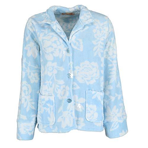 La Cera Women's Floral Plush Bed Jacket, Large, Blue -