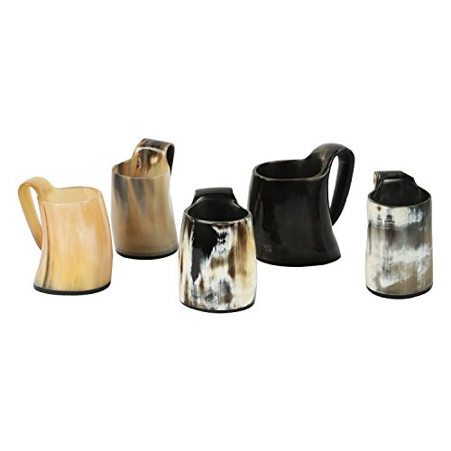 Set of 5 Whiskey Shot Glasses Real Horn Mug Cup Ale Beer Wine Glass Goblet from Handicrafts Home USA