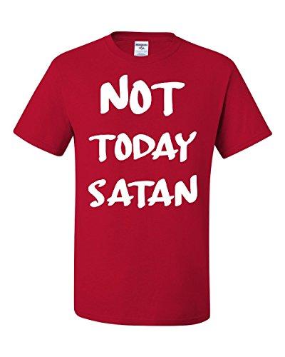 Not Today Satan T-Shirt Religious Funny Jesus Religion Faith Tee Red L