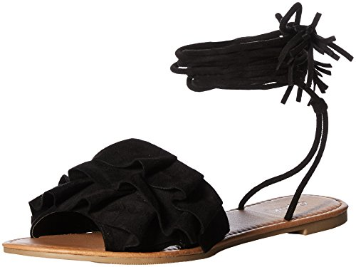 Qupid Women's Lace Up Sandal with Ruffles Flat