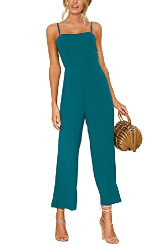CoCo+fashion+Women%27s+Summer+High+Waist+Wide+Leg+Romper+Sleeveless+Long+Pant+Off+Shoulder+Backless+Casual+Jumpsuits+Outfits+%28Blue%2C+X-Large%29