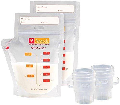 - Ameda Store'N Pour Milk Storage Bags + 2 Adapters - 20 ct