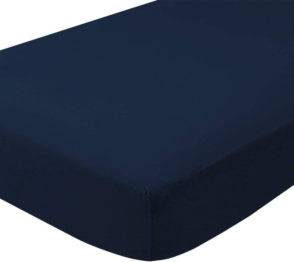 Bare Home Flannel Fitted Bottom Sheet 100% Cotton, Velvety Soft Heavyweight - Double Brushed Flannel - Deep Pocket (Twin XL, Dark Blue)