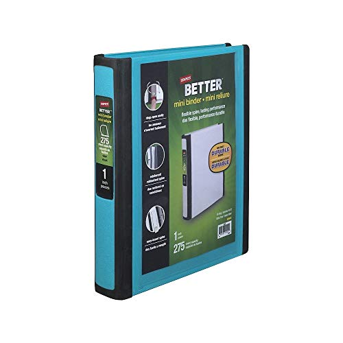 Staples Better Mini 1-Inch D 3-Ring View Binders, Teal (20948) (Mini Binder Staples)