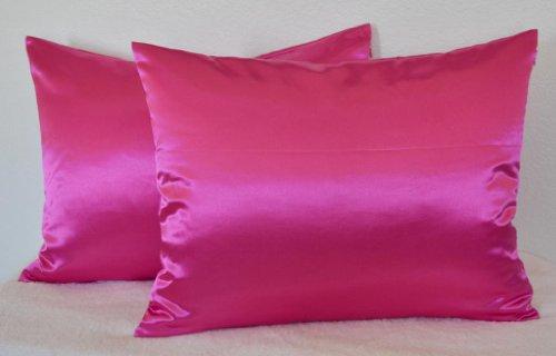 Creative 2 Pieces of Hidden Zipper Satin Pillow Case, Standard Size , Hot Pink