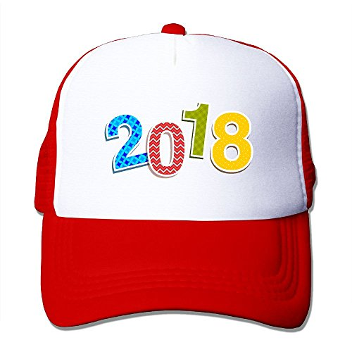 Djsaend Unisex 2018 New Year's Eve One Size Unisex Fitted Mesh Hat Baseball Caps Red