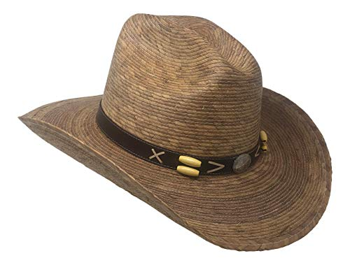 Chapeau Tribe Cocoa Tan Braided Cattleman Straw Cowboy Hat with Silver Concho Band