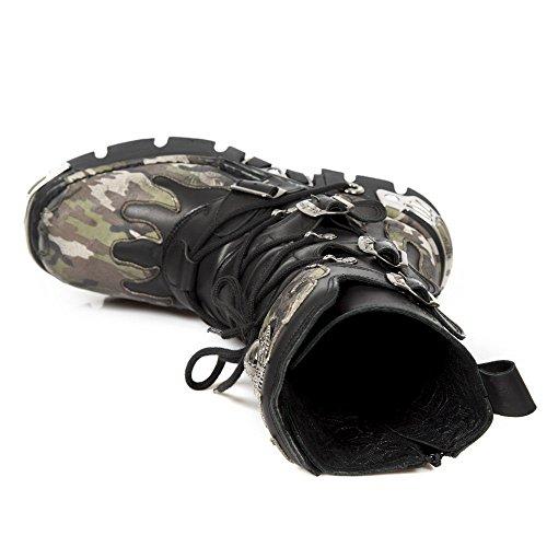 Goth Newrock S15 Metallic Biker 591 Range Black Smart Boot Flame Camouflage gOxvS