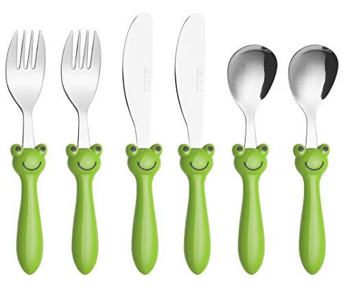 (Exzact Childrens Flatware/Kid Silverware Set 6 Pieces Stainless Steel - 2 x Children Forks, 2 x Children Safe Dinnerknife, 2 x Children Dinner Spoons, Toddler Utensils (Frog x 6 PCS))