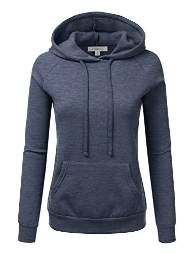 JJ Perfection Womens Long Sleeve French Terry Hoodie Top HEATHERNAVY L (Top Hooded Terry)