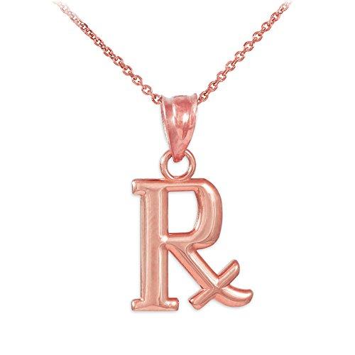 Collier Femme Pendentif 10 Ct Or Rose Rx Prescripteion Symbole Charme (Livré avec une 45cm Chaîne)