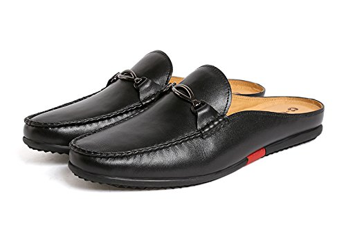 Santimon Mules Clog Slippers Men Fashion Patent Leather Slip on Shoes Casual Loafers Black 9 D(M) US by Santimon (Image #1)