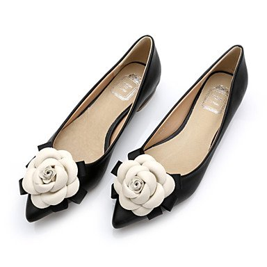 Cómodo y elegante soporte de zapatos de las mujeres pisos comodidad de primavera/verano/otoño/punta Toe/cerrado en los dedos Casual flores de tacón planas Walking negro