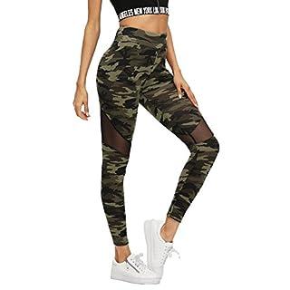 SweatyRocks Women's Stretchy Skinny Sheer Mesh Insert Workout Leggings Yoga Tights Camouflage S
