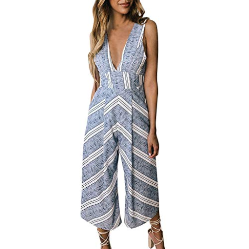 QIQIU Womens New Sexy V Neck Pockets Summer Stripe Print Loose Wide Leg Romper with Pockets Jumpsuit Blue -