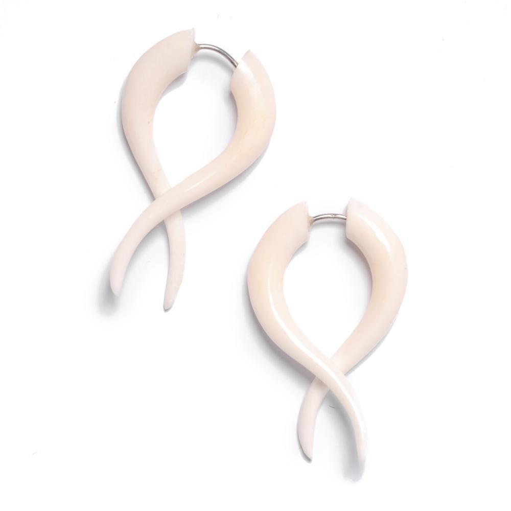 81stgeneration Women's Men's White Bone Fake Taper Stretcher Plug Twisted Tribal Earrings