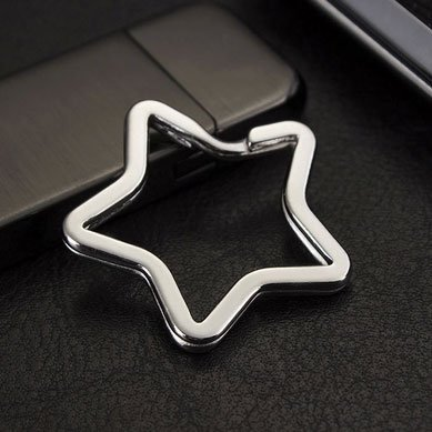 Star-shaped Bear-shaped and Heart-shaped Rings Key Chain Parts Creative Key Ring with Chain 30 pcs 3 Mix Styles