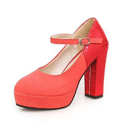 AllhqFashion Womens Solid Soft Material High-Heels Buckle Round Closed Toe Pumps-Shoes Red 9IRjxNizgs