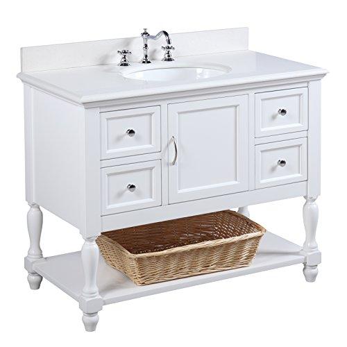 Caesar Bathroom Vanity - Beverly 42-inch Bathroom Vanity (Quartz/White): Includes Quartz Countertop, White Cabinet with Soft Close Drawers, and White Ceramic Sink