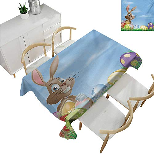"familytaste Easter,Fitted tablecloths,Painted Easter Eggs with Dots Chevron Zigzags and Stripes in a Basket Cartoon Bunny,Tablecloths for Sale 60""x 84"""