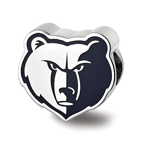 Mia Diamonds 925 Sterling Silver Rhodium-Plated LogoArt Memphis Grizzlies Enameled Bead Charm for Charm ()