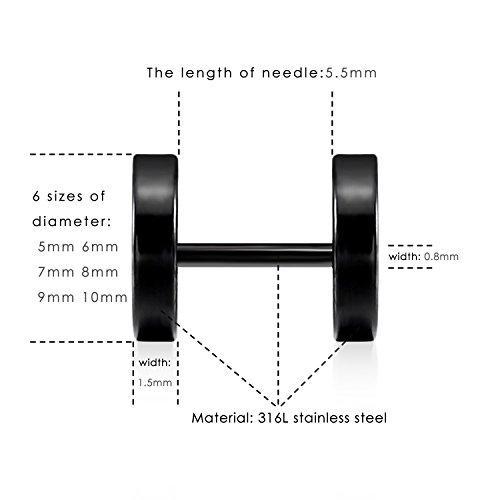 LIEBLICH Black Stud Earrings Men Women Faux Gauges Ear Tunnel Stainless Steel Earrings 6 Pairs 5mm-10mm by LIEBLICH (Image #3)