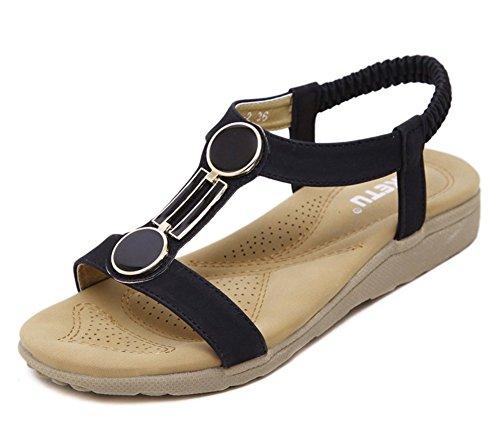 Aisun Women's Black Beach Soft T Antiskid Comfy Shoes Sandals Flat Open Strap Toe r1CwqrdZ