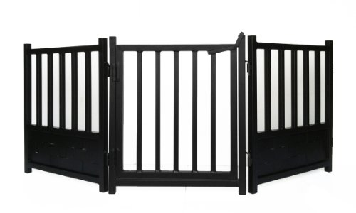 Royal Weave 3pc Freestanding Walk-thru Pet Gate + Side Panel Stabilizers